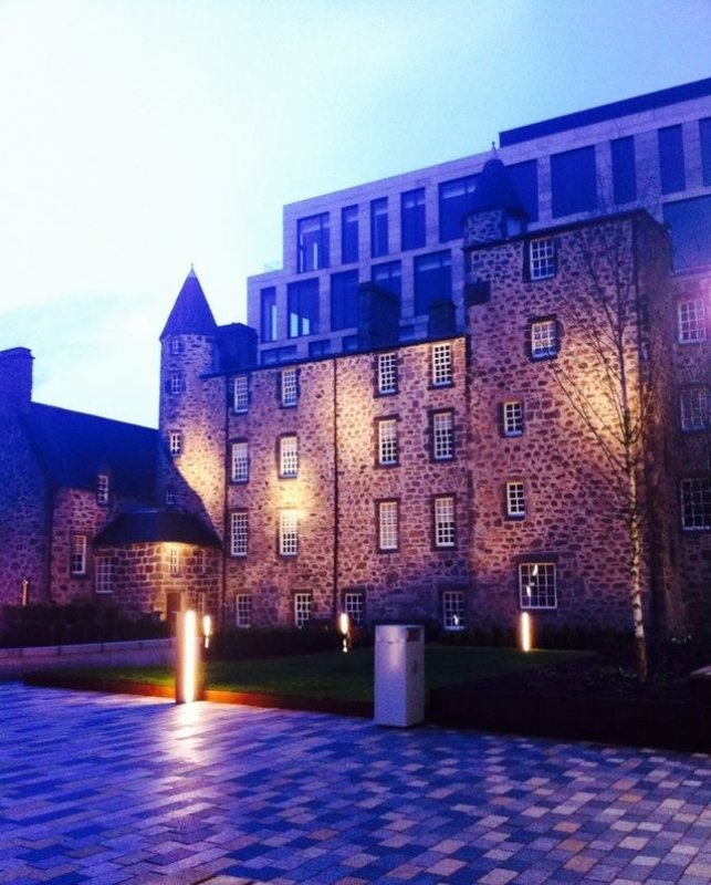 5/1/18- early morning image of Provost Skene's House in the newly completed Marischal Square on Broad Street.