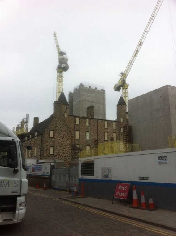 May 2016- Provost Skene's House during the building of the Marischal Square office development on Broad Street. Viewed from The Netherkirkgate / Flourmill Lane Square.