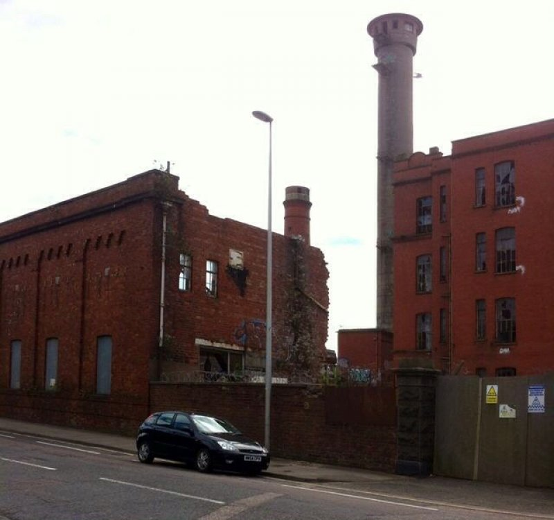 28/5/17- Broadford Works showing remaining chimney and concrete tower. Viewed from Hutcheon Street.