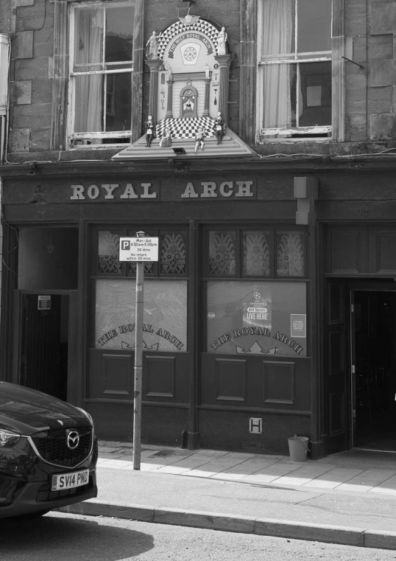 The Royal Arch Bar, Montrose High Street, showing the insignia of the Royal Arch Masonic Order above the Bar.