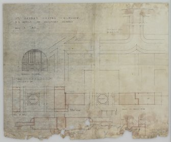 Interior.  Drawing entitled 'F.S. Details of Sanctuary Screen' by Ian G Lindsay and Partners Mechanical copy of Drawing No. 50/3.