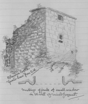 "Digital image of pencil sketch showing view from SW.  Inscribed: ""Blanerne Castle. 'Guard-house' from SW. Mouldings of jambs of small window in W wall of ruined fragment"""