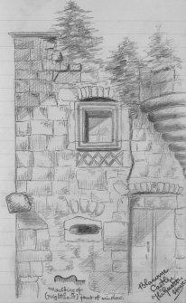 "Digital image of pencil sketch. Inscribed: ""Blanerne Castle. The 'Guard-House'. Moulding of (right hand) jamb of window""."