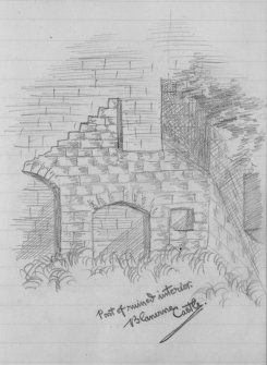 "Digital image of pencil sketch. Inscribed: ""Part of ruined interior. Blanerne Castle""."