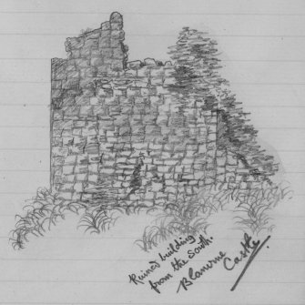 "Digital image of pencil sketch. Inscribed: ""Ruined building from the South. Blanerne Castle""."