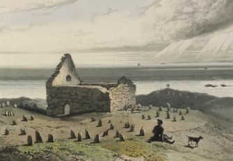 Engraving showing Teampull nan Cro' Naomh chapel and cemetery, Lewis