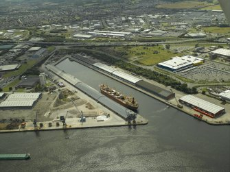 Oblique aerial view of the dock, taken from the ENE.