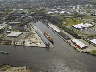 Oblique aerial view of the dock, taken from the NNE.
