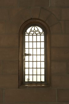 Interior. Detail of window in W aisle