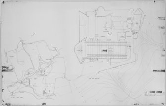 "Digital image of drawing showing block plan and site plan of St Peter's College and Kilmahew House.  Site plan also shows lodges, steading, Kilmahew Castle and other estate buildings.  Insc. 'Gillespie, Kidd & Coia December 1961' . Scale (Block plan) 1/16""          (Site plan) 1/2500"