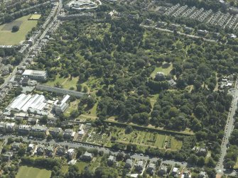 Oblique aerial view centred on the botanical garden, art gallery and house, taken from the NW.