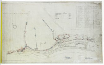 Plan of Port Edgar Royal Naval Base (HMS Lochinvar). Annotated drawing with numbered table. Civil Engineer in  Chiefs Department Adimiralty, Rosyth District