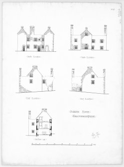 Elevations and section.