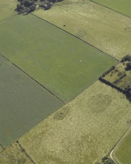 Oblique aerial view centred on the remains of the cairn and stone circle with the remains of the recumbent stone circle adjacent, taken from the NW.