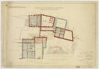 'Edinburgh & Leith Corporations' Gas Commissioners. Waterloo Place Office Extensions' Site plan and basement plan. Signed: 'W R Flemming'