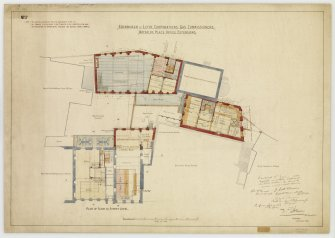 'Edinburgh & Leith Corporations' Gas Commissioners. Waterloo Place Office Extensions Plan of floor at Street level'. Signed: 'W R Flemming and various other names'