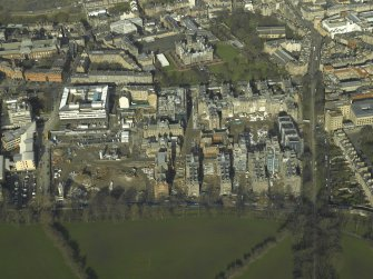 Oblique aerial view centred on the old Royal Infirmary Hospital and George Heriot's School, taken from the S.