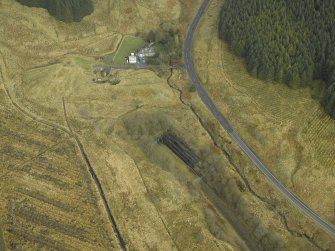 Oblique aerial view centred on S end of tunnel and Whitrope Cottages, taken from the S.