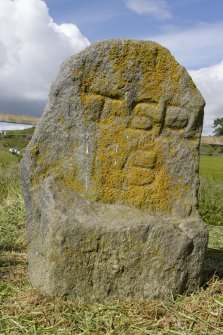 Upper Manbean Pictish symbol stone. View of reverse, showing initials