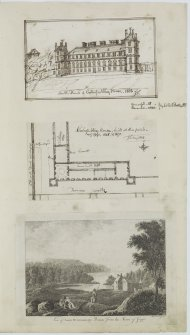 Digital copy of page 57: Engraving of Lord Dundonald's forest, near Farm of Geggie and ink sketches of South front and plan of Culross Abbey House.  'MEMORABILIA, JOn. SIME  EDINr.  1840'