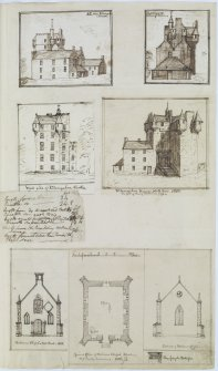 Digital copy of page 64: Ink sketches of Kilconquhar House (Castle) and Balcarres Chapel. 'MEMORABILIA, JOn. SIME  EDINr.  1840'