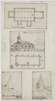 Digital copy of page 64 verso: Ink sketches of Crail Church, Dairsie Church and obelisk near Kingsbarns. 'MEMORABILIA, JOn. SIME  EDINr.  1840'