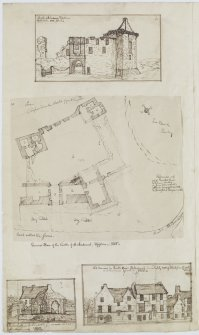 Digital copy of page 68 verso: Ink sketches of St Andrew's Castle, Blackfriars Chapel and Grammar School and houses in South Street, St Andrews. 'MEMORABILIA, JOn. SIME  EDINr.  1840'