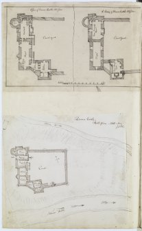 Digital copy of page 76 verso: Ink sketch plans of Second and Third Floors and site plan of Doune Castle. 'MEMORABILIA, JOn. SIME  EDINr.  1840'