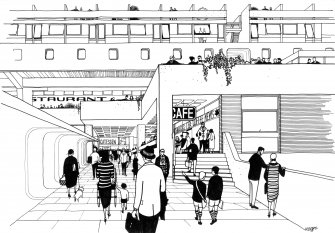 Drawing of Cumbernauld Town Centre by Michael Evans.