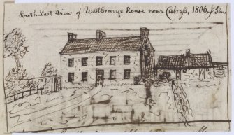 "Digital copy of page 57 verso: Ink sketch of West Grange House near Culross, from South East Insc. ""South East view of West Grange House near Culross, 1806. J.Sime"" 'MEMORABILIA, JOn. SIME  EDINr.  1840'"