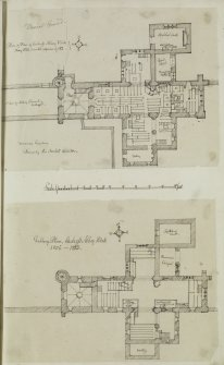 "Digital copy of page 58: Ink sketch plan of Ground Floor of Culross Abbey Church Insc. ""Plan of Floor of Culross Abbey Kirk. May 1806"".  Insc. ""Gallery Plan, Culross Abbey Kirk. 1806-23"" 'MEMORABILIA, JOn. SIME  EDINr.  1840'"