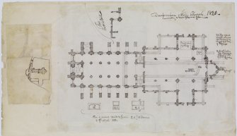 "Digital copy of page 61 verso: Ink sketch plan of Dunfermline Abbey Church.  Rough ink sketch plan of Dunfermline Abbey Church, showing position in relation to St Catherine's Wynd Insc. ""Dunfermline Abbey Church 1820."" 'MEMORABILIA, JOn. SIME  EDINr.  1840'"