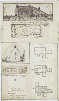 "Digital copy of page 63 verso: Ink sketches of Kilconquhar Church. Insc. ""Kilconquhar Kirk from the North East 1813."" 'MEMORABILIA, JOn. SIME  EDINr.  1840'"