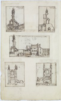 Ink sketches of St Andrews Cathedral and St Leonard's School. 'MEMORABILIA, JOn. SIME  EDINr.  1840'