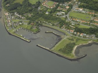 Oblique aerial view centred on the harbour, taken from the S.