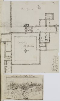 "Page 58 verso: Ink sketch plans of Culross Abbey and Church, and Abbey House with written letter on verso, and Valleyfield House, Garden. Insc. ""Culross Kirk & Abbey. June 15 1838"" 'MEMORABILIA, JOn. SIME  EDINr.  1840'"