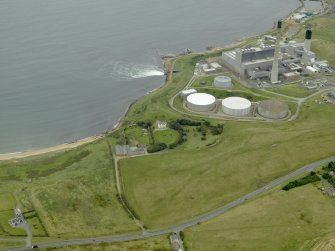 General oblique aerial view centred on the power station with Sandford Lodge in the foreground, taken from the W.