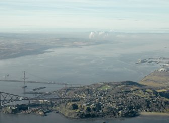 General oblique aerial view centred on North Queensferry with the bridges adjacent, taken from the E.