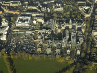 Oblique aerial view centred on the Quartermile development of the former Infirmary, taken from the S.