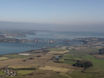 General oblique aerial view centred on the Forth Bridge and the Forth Road Bridge, taken from the WSW.