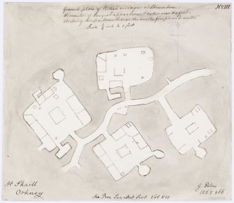 Plan of houses 1, 3, 4 and 5 at Skara Brae. Titled: 'Ground plan of Pictish village at Skara Brae. At Skaill, Orkney'.