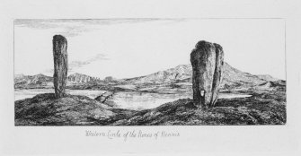 Digital copy of illustration showing two Standing Stones, western Stones of Stenness. The two stones are the Watch Stone (on the left) and the Stone of Odin (on the right) . The Ring of Brodgar is in the background. Inscribed: ' Western Circle of the Stones of the Stones of  Stennis'