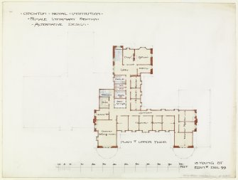 Digital copy of upper floor plan of Rutherford House.
