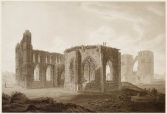 Digital copy of view of Elgin Cathedral by William Clark.