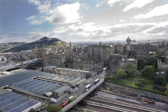 General view from the top of the Scott Monument looking SE, centring on the former Scotsman Buildings.