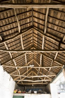Barn. Interior. Roof structure. Detail