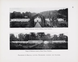 "Catalogue of Horticultural Buildings by MacKenzie and Moncur.  ""Range of Hothouses erected at Kinfauns Castle, Perthshire"" and ""Range of Hothouses erected at Rossie House, Perthshire"""