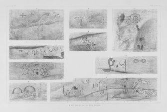Details of Pictish symbols and other carvings in Dovecot Cave. Copied from 'The Sculptured Stones of Scotland', J Stuart, 1867, vol ii, plate 33 and 34.