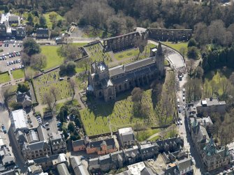 Oblique aerial view centred on the Abbey with the Abbey Precinct adjacent, taken from the NNE.