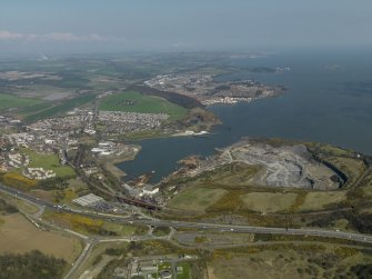 General oblique aerial view of toen with Inverkeithing Bay adjacent, taken from the WSW.